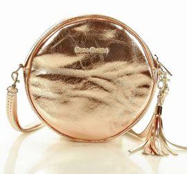 Torebka skórzana round bag listonoszka MARCO MAZZINI - Isabella różowe złoto