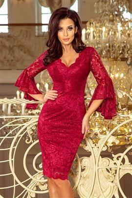 ZOE Koronkowa sukienka z rozkloszowanymi rękawkami - BORDOWA