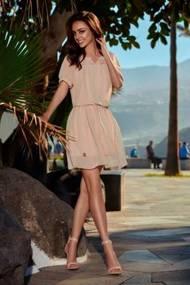 Letnia szyfonowa sukienka z krótkim rękawem beżowy